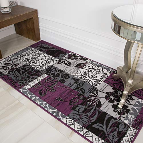 The Rug House Tapis Patchwork Violet, Noir U0026 Gris   9 Tailles Disponibles