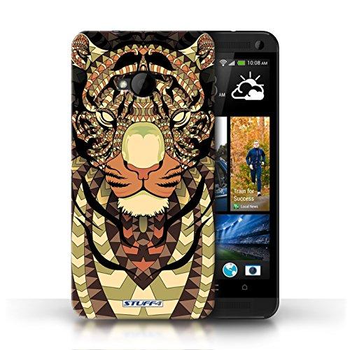 Coque de Stuff4 / Coque pour HTC One/1 M7 / Loup-Bleu Design / Motif Animaux Aztec Collection Tigre-Sépia