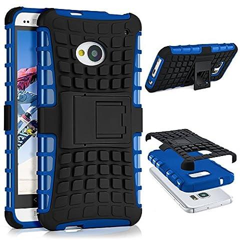HTC One M7 Hülle Silikon Hard-Case Blau [OneFlow Outdoor Back-Cover] Extrem Stoßfest Schutzhülle Grip Handyhülle für HTC One M7 Case Rückseite