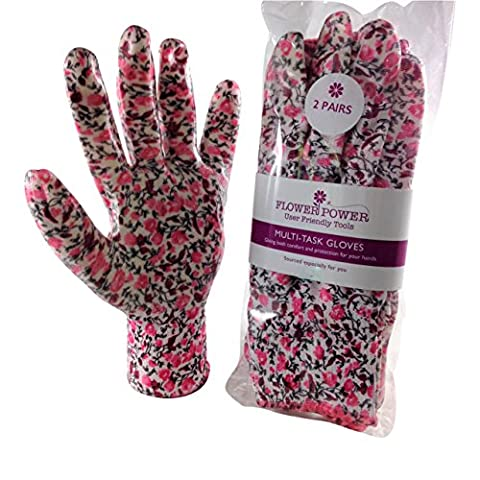 2 Pairs Ladies Gardening Gloves - Lightweight and Durable Work Gloves for Women (Small, Medium & Large) - Perfect For Garden and Household Tasks - Best Gardening Gift for Women. Buy on Sale NOW (Medium, Candy Pink Floral)