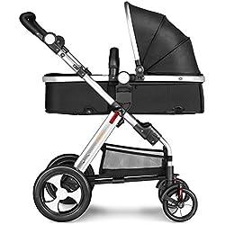 Besrey Kombi 2 in 1 Kombikinderwagen - 1x Buggy-Kinderbuggy-Sportwagen + 1x Babywanne - 2 Färben - schwarz