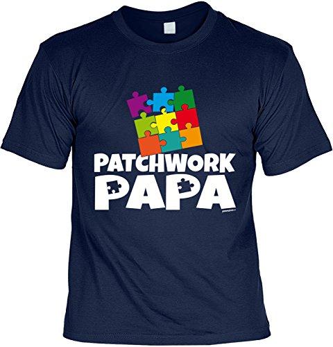Fun T-Shirt zum Vatertag: Patchwork Papa - Geschenk, Geburtstag, Vatertagsausflug - navyblau Navyblau