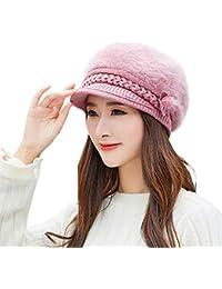 Mujeres Invierno Cálido Gorra Boinas Mujer Elegante para Primavera y Verano  Gorro Floral Sombrero de Punto 63887c28528