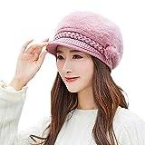 OverDose Damen Winter Street Style Mode Frauen Mädchen Blume Stricken häkeln Beanie Hut Winter warme Mütze Beret Faltbare Kappe