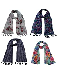 8fd1c25d2 Letz Dezine ™ Women s Printed Poly Cotton Multicolored Scarf and Stoles  with Pearl Tassels - Set