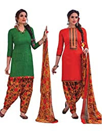 EasyToShop Retaill Women's Cotton Printed Salwar Suits Unstiched Dress Materials (Combo Pack Of 2) _AMVRRR003_...