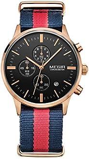Megir Mens Quartz Watch, Chronograph Display and Nylon Strap - 2011G-6