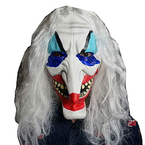 Long Nez Clown Masque Cheveux Blancs Grimace Peint des Accessoires En Latex (Masque De Clown Halloween)