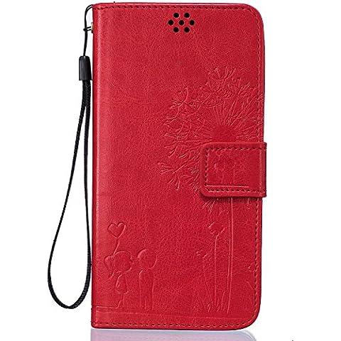 Beiuns Funda de PU piel para Xiaomi Redmi Note 3 / Note 3 Pro (5,5 pulgadas) Carcasa - TX525 rojo