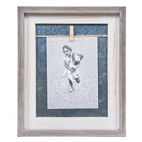 Danya B Grau Weiß 12,7x 17,8cm Vertikal Holz Bilderrahmen mit verzinktem Metall, Wäscheklammer und Bindfäden (Vertikale Bild-frame-hund)