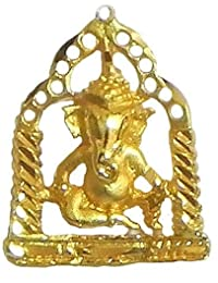 DollsofIndia Gold Plated Pendant - Ganesha Sitting On Swing - 1 Inch (GF61-mod) - Golden, Yellow