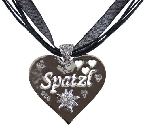 Trachtenschmuck Herz mit Kristallen Crystal klar – hochglanz poliert – Spatzl sowie Herzen...