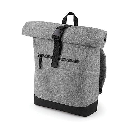Preisvergleich Produktbild BagBase Rucksack Manner beilaufige Roll-Top-Rucksack 32x44x13cm 12L Schwarz Grau Marl