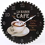Large 34cm La Maison du Cafe Wall Clock, Large Rustic Coffee Cup Design Wall Mounted Looks Great in Kitchen / Dining / Living Room Clock, Makes ideal Present, Gift Boxed