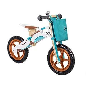 Kinderkraft KKRRUNADV0000Z Adventure Runner Laufrad Lernlaufrad Kinder Fahrrad Rad 12 Zoll Holz EU Norm, blau