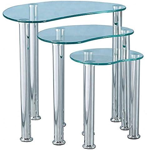 Vida Designs Cara Tables gigognes en verre, Verre, Transparent, Lot de 3