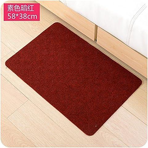 Teppiche Deko Wohnzimmer Schlafzimmer und Badezimmer Indoor Outdoor Teppich/Matte Rutschfeste Küche Utility Easy Clean Matte, Plain dark red, (Dark Pink Bereich Teppich)
