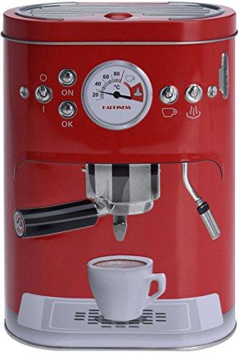 Eliware Vorratsdose mit Kaffemaschinen-Motiv   Rot