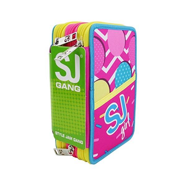 Seven SJ Gang Girl Estuche Escolar Làpices de Colores Plumier Triple para Ninos Rosa