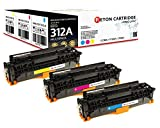 Original Reton Toner, kompatibel, 3er Farbset für HP 312A (CF381A, CF382A, CF383A), Color Laserjet PRO MFP M476, M476, M476DN, M476DW, M476NW, Cyan Magenta Gelb