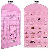 Misslo® Hanging Jewellery Organiser Holder 32 Pockets 18 Hook and Loops, Pink