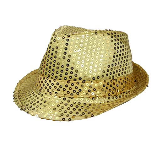 Sannysis Trilby Hut Helle Leuchtende Glitzer Pailletten für Bühnenshow Jazz Unisex Cap Hiphop Fancy Dress blinkende Blinkender Fedora Weihnachtsparty Bunte Tanzhut F