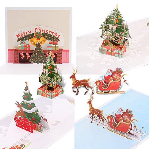 Qpout 4Pack Biglietti di Auguri di Natale, 3D Pop Up Cartoline di Natale con Buste Babbo Natale, Albero di Natale, Renna Carte Fatte a Mano per Natale Regalo Natale Decorazione di Capodanno