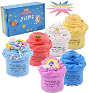 Cutiecute 6 Pack Butter Slime Kit,Super Soft & Non-Sticky, Stress Relief Toy Scented Sludge Toy for Kids E