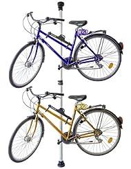 Relaxdays Teleskop Fahrradhalterung für 2 Fahrräder verstellbar von 160 bis 340 cm – ausziehbarer Fahrradhalter Garage aus Alu & Kunststoff Fahrradaufbewahrung stabil gespannt zwischen Boden & Decke
