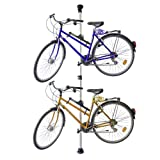 Relaxdays Telescoping Bike Stand for 2 Bicycles, Adjustable from 160 to 340 cm, Aluminium & Plastic, Extends Between Floor & Ceiling, Silver
