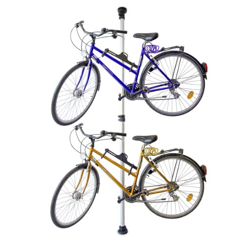 Preisvergleich Produktbild Relaxdays Teleskop Fahrradhalterung, für 2 Fahrräder, verstellbar, bis 40 kg, 3,4 m, Alu Fahrradaufbewahrung Decke, silber