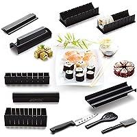 AGPtek 10PCS Outils plus 1 Sushi Couteau, Sushi Maker Kit de Moule à faire Sushi et Roll de Riz DIY Cuisine Simple Set de Moule à Couper Roll, Idéal pour Cadeau