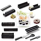 AGPTEK Sushi Maker Kit, 10 Stück Komplett Hause Sushi Making Kit Küche DIY Einfache Koch Set Reis Form Set (Meister-Roller-Set) und Messer