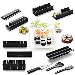 AGPtek Sushi Maker Kit, 10 Stück Komplett Sushi Making Kit DIY Einfache Koch Set Reis Form Set (Meister-Roller-Set) und Messer
