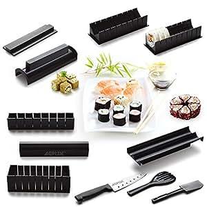 AGPtek Bollitore per sushi set set riso rotolo cucina fai da te facile master rullo e coltello