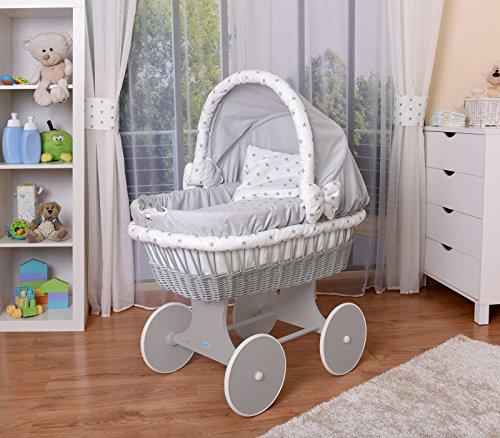 *WALDIN Baby Stubenwagen-Set mit Ausstattung,XXL,Bollerwagen,komplett,26 Modelle wählbar,Gestell/Räder grau lackiert,Stoffe grau/Sterne-grau*