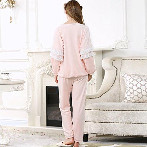 GWELL Ensemble de Pyjama Femmes Vêtement de Nuit Polaire Velours Princesse Papillon nœud Douce Chaud Manches Longues Uni Chemise Pantalon Chambre Confortable Automne Hiver Rose