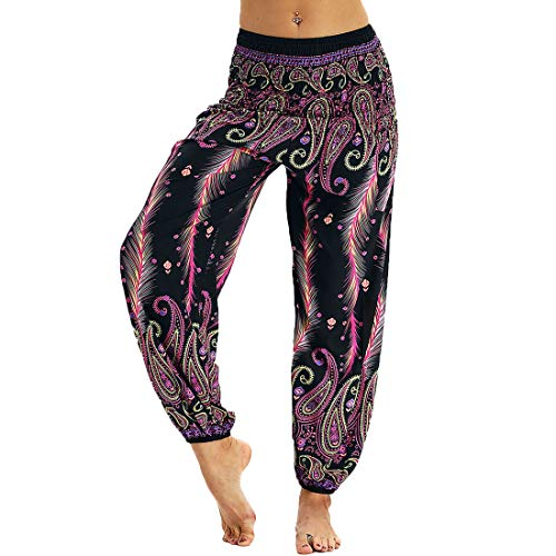 ae5beb903a5ed Nuofengkudu Pantalones Harem Tailandes Hippies Vintage Boho Flores Verano  Alta Cintura Elastica Casual Danza Yoga Pants