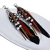 Fletion Mode Böhmen Vintage Quaste Feder Ohrhänger Tropfenohrringe Ohrringe Anhänger für Damen Mädchen