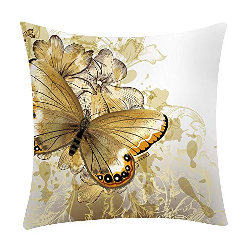 LEEDY - Funda de cojín con Estampado de Mariposas, para decoración del hogar, sofá, Coche, Dormitorio...