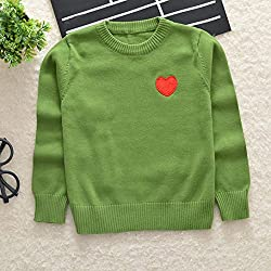 Anglewolf Toddler Baby Kids Girl Boy Warm Cotton Knitted Heart Print Sewing Sweater Jumper Cardigan Casual Softstyle Comfy Tops Outfits Clothes for Unisex Baby Kids Age 1~5Y