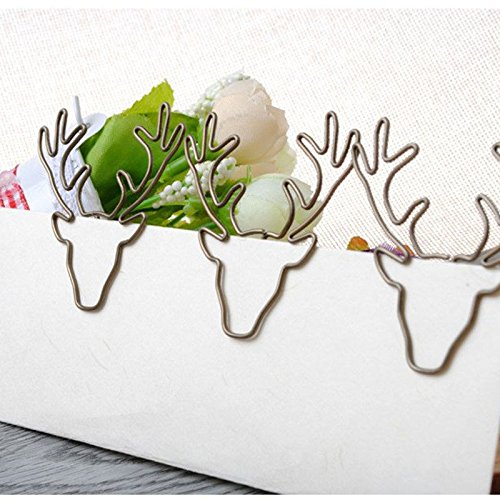 Uniqstore 8 st¨¹cke Vintage Deer Clip Metall B¨¹roklammern Pin Lesezeichen B¨¹rozubeh?r Halloween Weihnachtsgeschenk