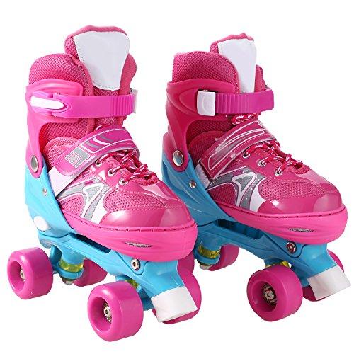 AMdirect Kinder einstellbare zweireihige Rollschuhe, Training Rollerblade mit PVC-Rad und Mesh atmungsaktive Inline-Skates für Jungen Mädchen (Rosa, 35-38)