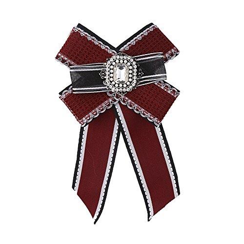 LILIMO Mode Bogen Frauen Einfarbig Bogen Streifen Strass Doppel Fliege Kleine Krawatte Brosche Corsage Fliege