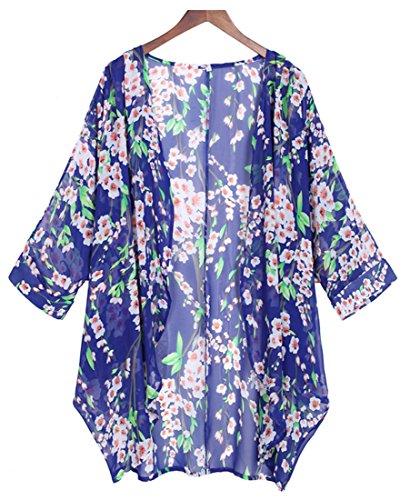 Tribear Frauen Troddel lange loose Kimono Cardigan Schwarz (XL, Blau) (Size Strickjacke Seide Plus)