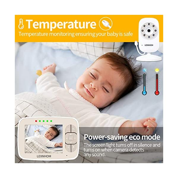 """LEXNHOM Portable Baby Monitor,Wireless Two-Way Talk 3.5 Inch baby monitors with Camera and Eco Mode,Night Vision,Temperature Monitoring , Lullabies (3.5 inch-Gold) LEXNHOM ★ FHSS TECHNOLOGY: New model of baby visual monitor with extra-large 3.5"""" TFT LCD screen and 640*480 pixels,which provides you possibility to watch your baby clearly, greatly increases freedom and flexibility for parents, it would be an ideal choice as a gift for newborn parents. ★ POWER SAVING MODE:When digital camera in silence, baby video monitor LCD display switches to standby state automatically, and turns on when camera detects any sound, changes of volume can also be displayed by the indicator light. ★ INFRARED NIGHT VISION:Video baby monitor's with infrared night vision and night light, protecting baby from glare, helping parents to see baby in darkless night clearly. 6"""