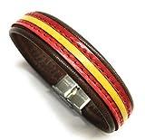 YOJAN PIEL Pulsera De Cuero Bandera De España (Fabricada Artesanalmente) (MARRÓN Oscuro)
