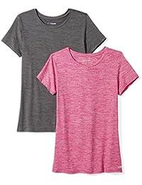 Marque Amazon - Amazon Essentials 2-Pack Tech Stretch Short-Sleeve Crewneck T-Shirt Femme