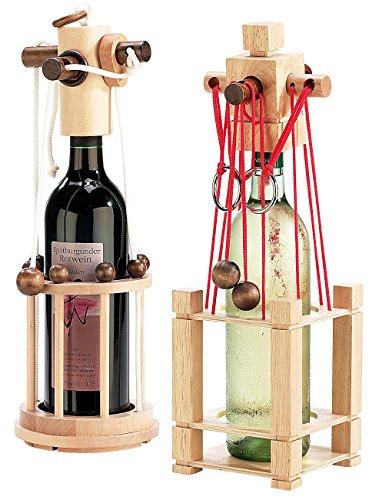Playtastic Flaschensafe: Flaschen-Puzzle 2er-Set: Siena und Verona (Rotwein Holz-Flaschenpuzzle)
