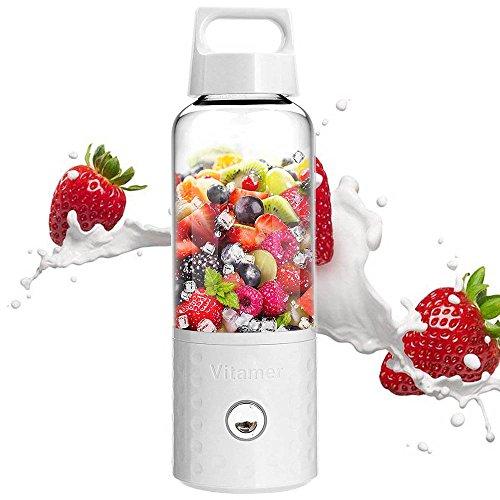 Licuadora portátil, Umiwe 500 ml USB Juicer Cup, fruta, batido, mezcla de alimentos para bebés con motor potente (Blanco)